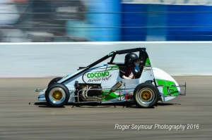 Annie Breidinger at speed at The Bullring at Las Vegas Motor Speedway in 2016